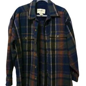 Eddie Bauer Wool Plaid Flannel Button Shirt M